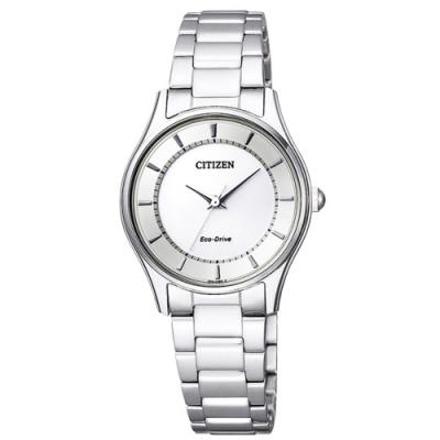 CITIZEN 星辰LADYS時尚風格光動能女腕錶-銀28mm(EM0401-59A)