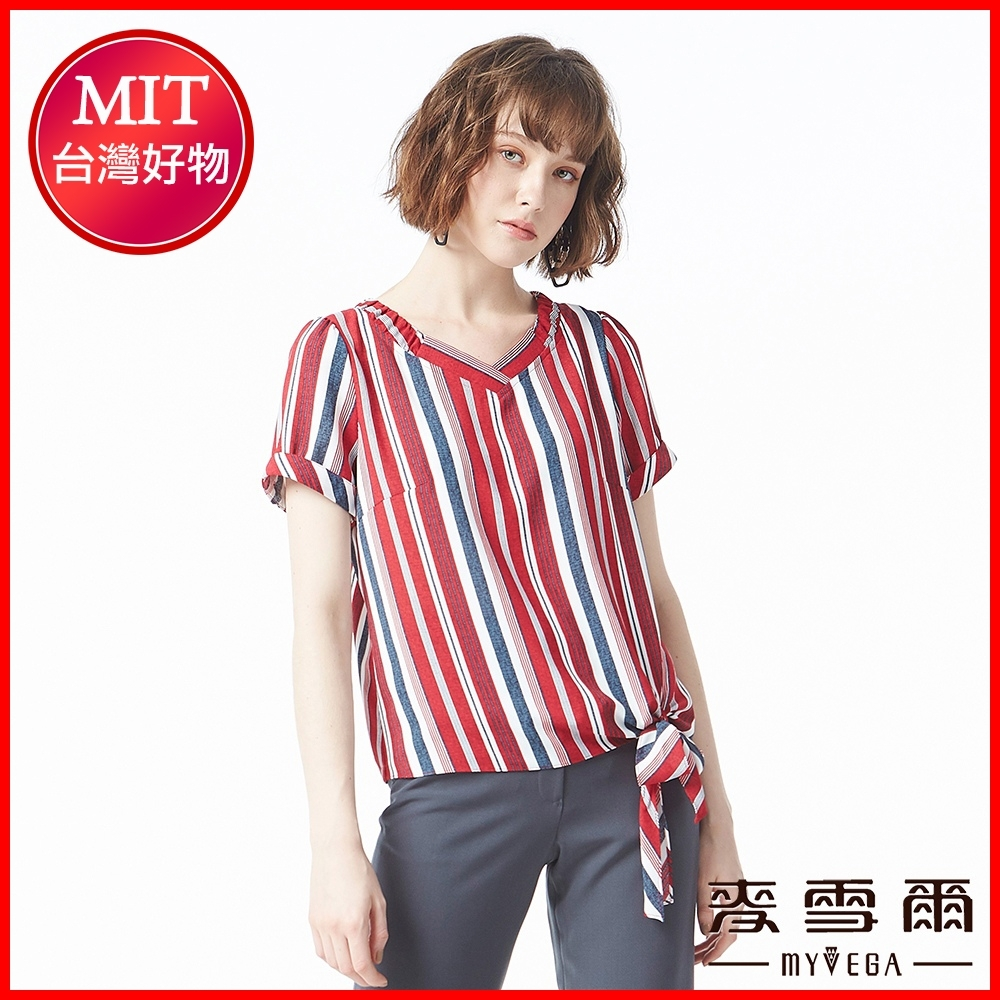 麥雪爾 條紋針織V領反摺袖上衣