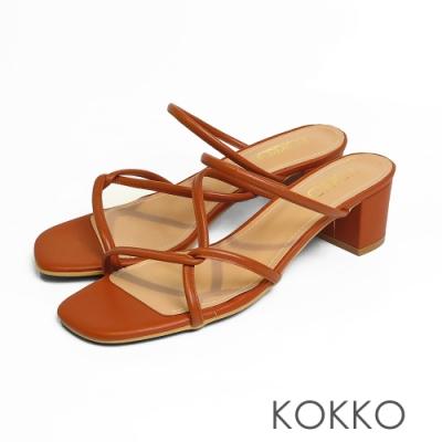 KOKKO-清潭洞之戀細條方頭粗跟涼鞋 - 拿鐵棕