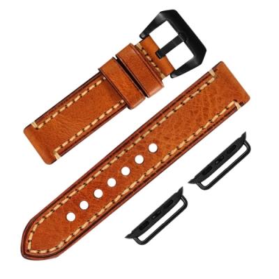 Apple Watch 蘋果手錶替用錶帶 蘋果錶帶 厚版 真皮錶帶 橘咖啡色