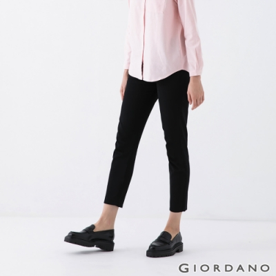 GIORDANO  女裝腰頭半鬆緊純棉卡其褲 - 09 標誌黑