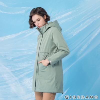 GIORDANO 女裝長版魚尾連帽外套 - 53 禾草綠