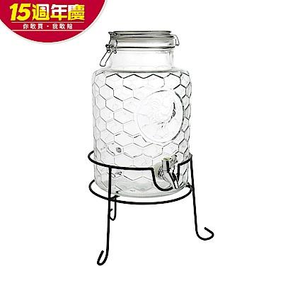 [時時樂限定]Party Plus玻璃派對飲料桶5.5L(附水龍頭&架子)