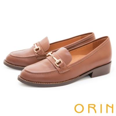 ORIN 質感真皮馬銜釦樂福 女 低跟鞋 棕色