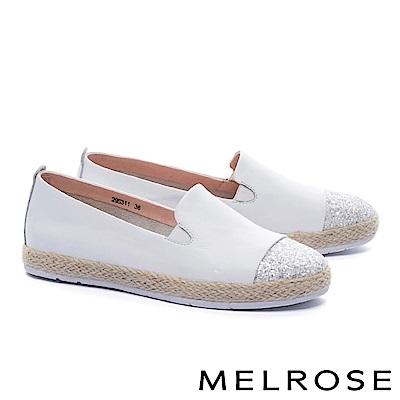 休閒鞋 MELROSE 異材質璀璨亮片拼接羊皮草編厚底休閒鞋-白