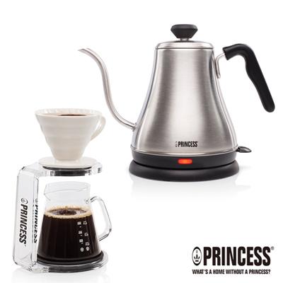 PRINCESS荷蘭公主0.8L細口快煮壺+手沖咖啡杯壺組(附手沖架)