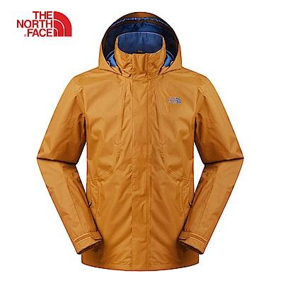 The North Face北面男款棕色防風防水衝鋒衣|3SPIUBT