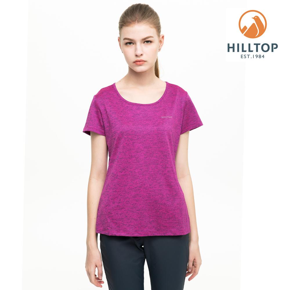 【hilltop山頂鳥】女款吸濕快乾抗UV抗菌T恤S04FI0螢光紫桃紅