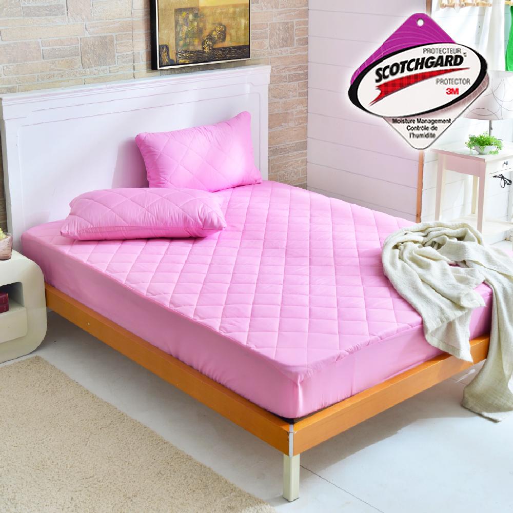 Goelia 台灣製採用3M吸濕排汗設計包覆式保潔墊一入-粉特大