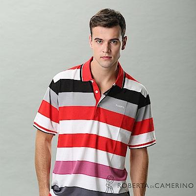 ROBERTA諾貝達 台灣製 配色寬條紋短袖POLO棉衫 紅白