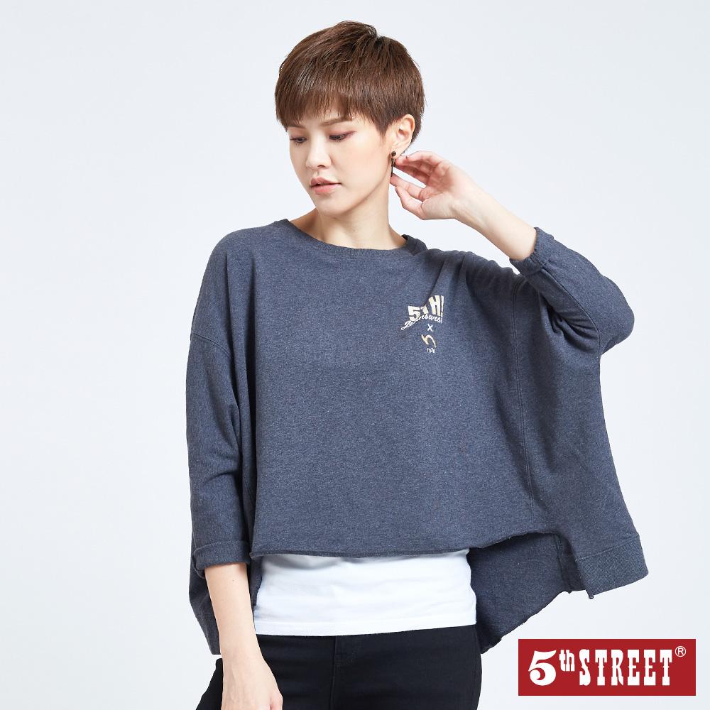 5th STREET 寬版印花LOGO休閒T恤-女-灰色