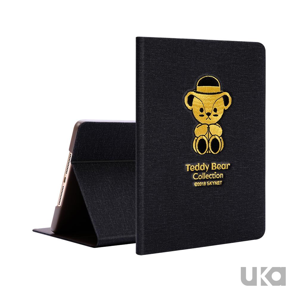 UKA 優加 iPad 2018 9.7吋 泰迪熊刺繡系列可立式保護套 - 泰迪公仔