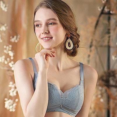 EASY SHOP-浪漫之森 無鋼圈C-E罩成套內衣(灰藍色)
