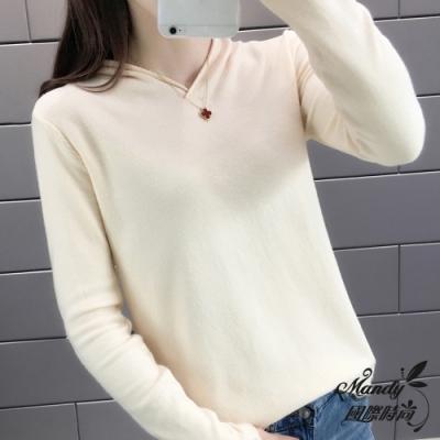 長袖上衣 秋 簡約素色V領寬鬆連帽長袖針織上衣(14色)  【韓國服飾】