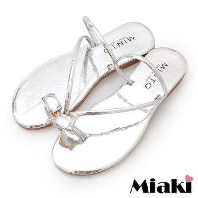 Miaki-涼鞋金屬時尚平底涼拖-銀