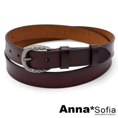 AnnaSofia 立體雕紋釦縫線革-二層牛皮腰帶皮帶(墨咖)