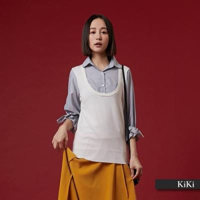 【KiKi】假兩件式襯衫領-針織衫(二色)