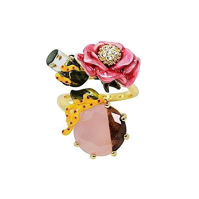 Les Nereides 花卉系列 鑲鑽花朵珊瑚寶石可調整戒指