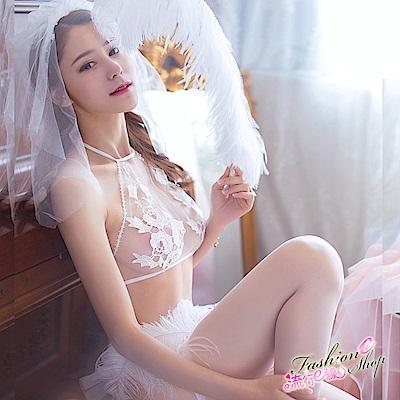 情趣內衣 夏日新娘情趣內衣褲5件組 含頭紗白色絲襪丁字褲 流行E線
