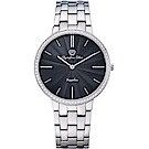 OlympiaStar 奧林比亞之星 時尚水波紋晶鑽腕錶-黑/40mm  58060DMS
