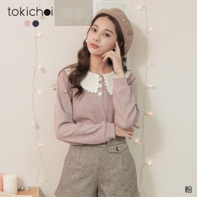 東京著衣 可愛女孩撞色領三顆釦坑條磨毛上衣
