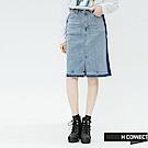 H:CONNECT 韓國品牌 女裝-復古感滾邊牛仔裙-藍