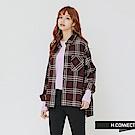 H:CONNECT 韓國品牌 女裝-單口袋格紋配色襯衫-紅