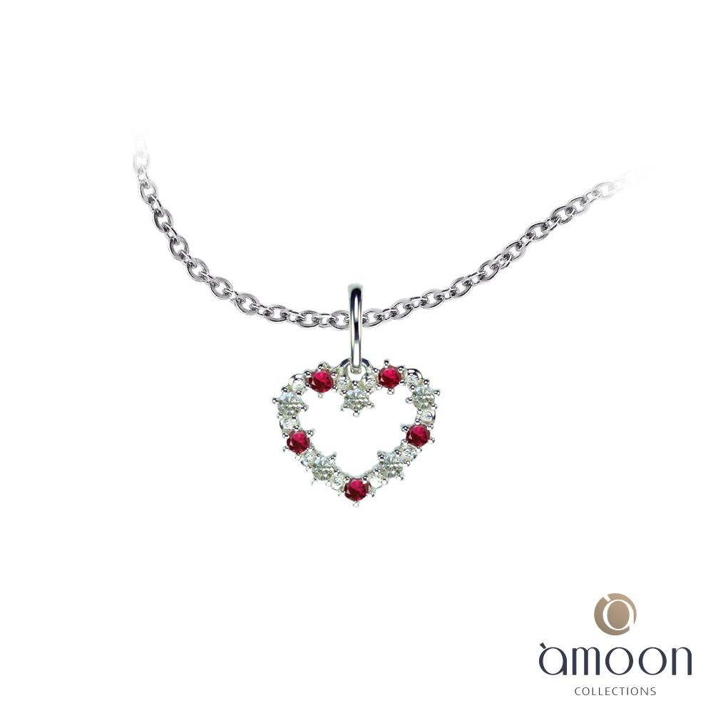 amoon 璀璨霓虹系列 璀璨之心 K金鑽石墜子 送項鍊