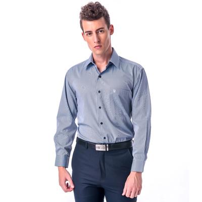 金‧安德森 藍白細線條長袖襯衫