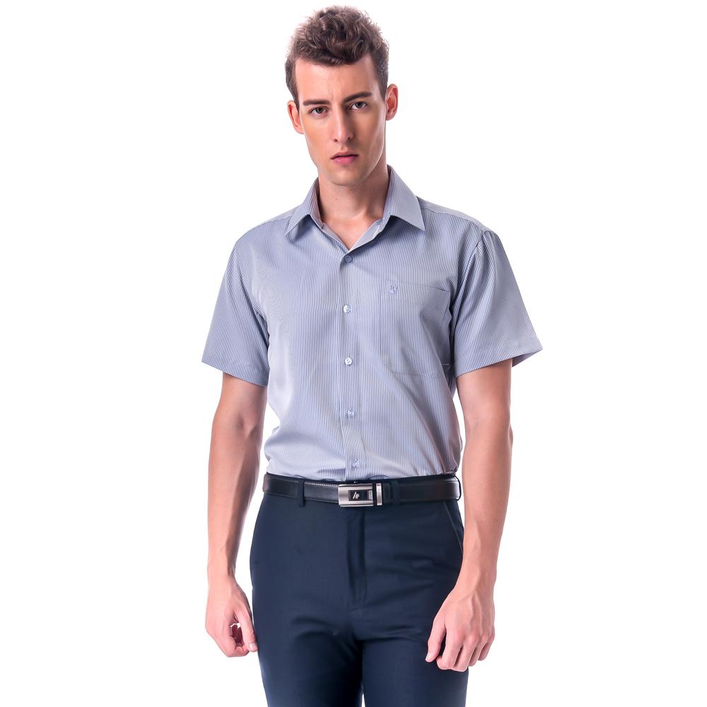 金‧安德森 灰色易整燙暗紋涼感窄版短袖襯衫fast