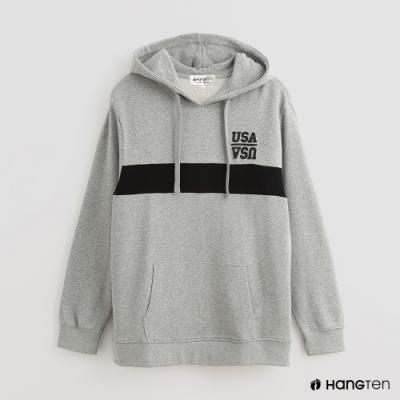 Hang Ten - 男裝 - 純色色塊拼接條紋長袖帽T - 灰