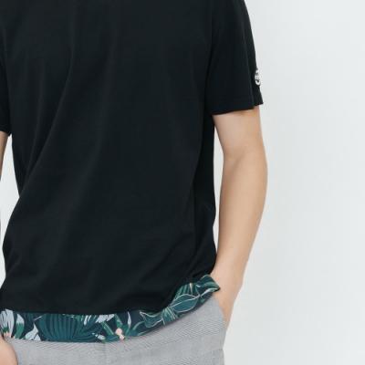 H:CONNECT 韓國品牌 男裝-印花下擺拼接T-shirt-黑