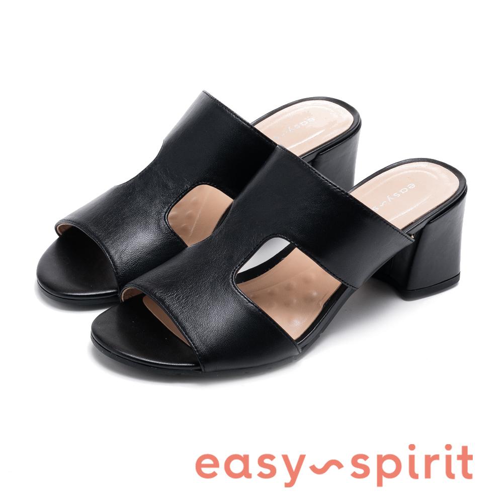 Easy Spirit seGIGI-時尚H真皮寬版涼跟鞋-黑色