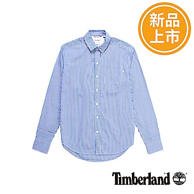 Timberland 男款藍色French River格子長袖襯衫