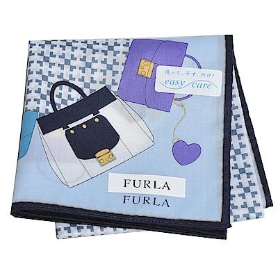 FURLA 經典包包圖騰品牌字母LOGO圖騰帕領巾(水藍)