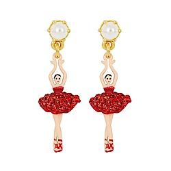 Les Nereides 優雅芭蕾舞女孩迷你系列 珍珠亮鑽芭蕾舞者耳環 耳針式 紅色
