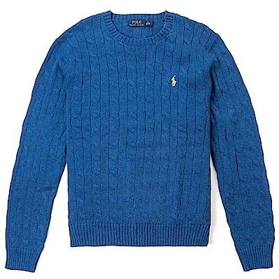 Polo Rlaph Lauren 經典刺繡小馬圓領麻花針織毛衣-藍色