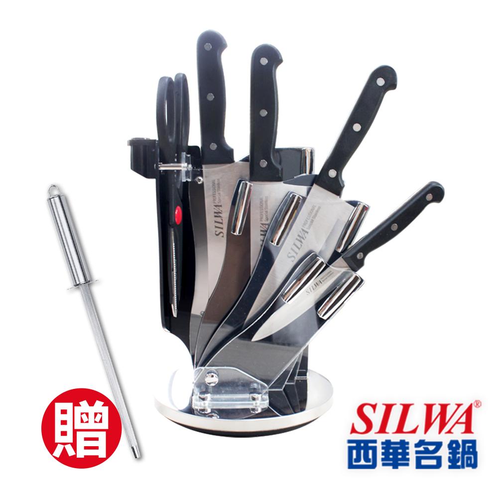 SILWA西華 六件式刀具組-360°旋轉壓克力刀架(★買就送西華不鏽鋼磨刀棒+懶女人面膜)