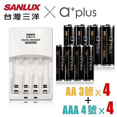 SANLUX三洋 X a+plus充電組(附3號2600mAh4入+4號1100mA4入)