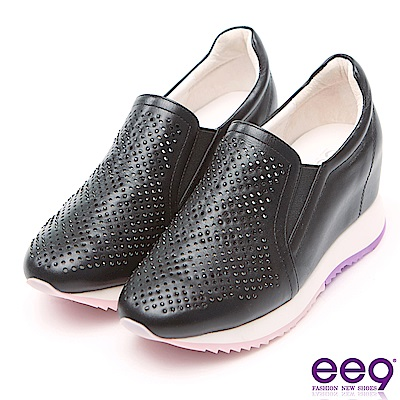 ee9 花漾年華鐳射鏤空鑲鑽內增高休閒鞋 黑色