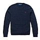 Polo Ralph Lauren 年度熱銷經典刺繡小馬麻花針織毛衣-深藍色 product thumbnail 1