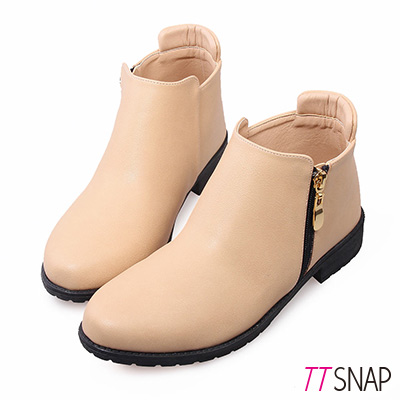 TTSNAP短靴 MIT甜美側拉鍊低跟踝靴 杏