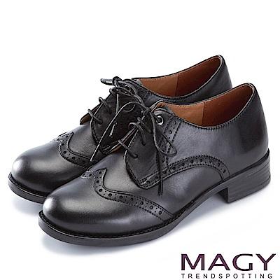 MAGY 英倫學院風  經典花邊綁帶真皮牛津鞋-黑色