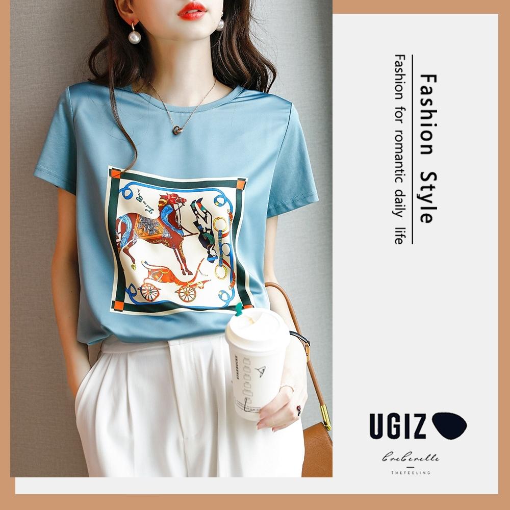 UGIZ-修身不敗款圓領馬兒圖案造型上衣-3色(M-2XL)