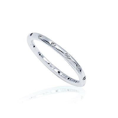Pandora 潘朵拉 簡約圓環鑲鋯設計純銀戒指