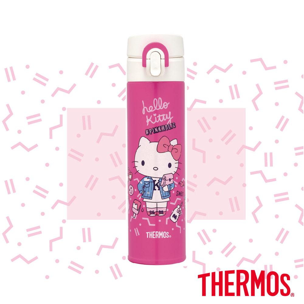 膳魔師Hello Kitty粉色不鏽鋼真空保溫瓶0.4L