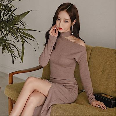 DABI 韓系設計感心機露肩修身長袖洋裝