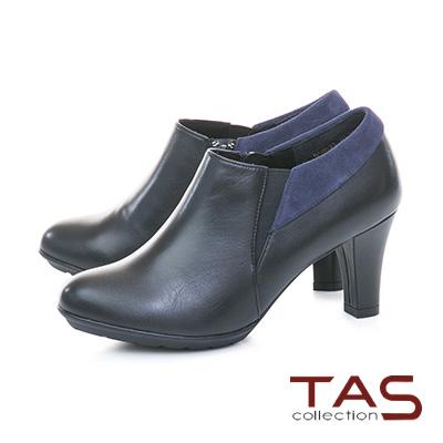 TAS 側拉鍊麂皮翻領拼接素面高跟踝靴–個性黑
