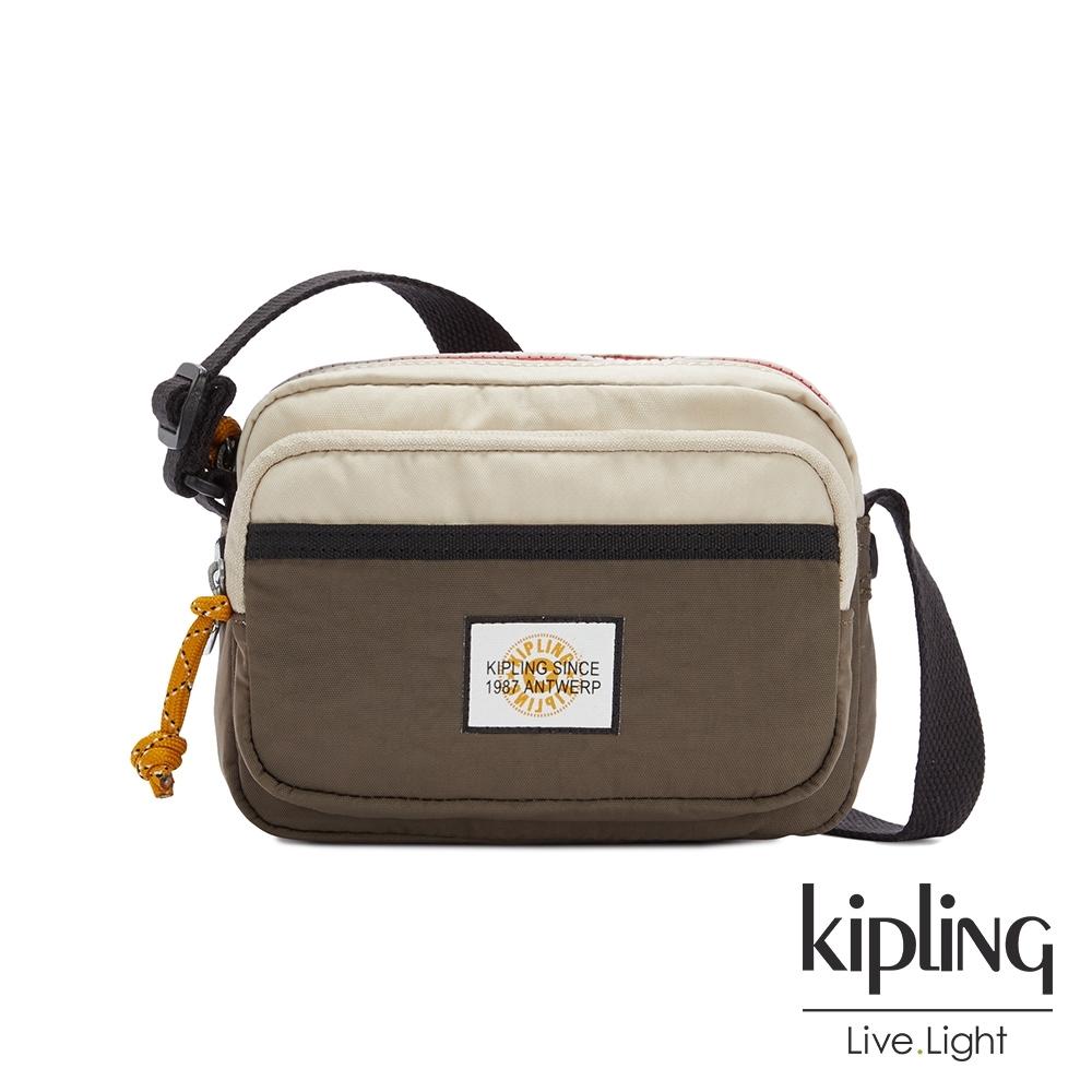 Kipling 中性黑茶色佐小麥色雙層輕巧斜背包-SISKO
