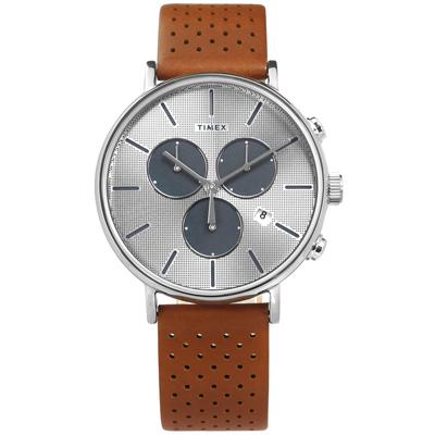 TIMEX 天美時 INDIGLO專利冷光照明計時日期真皮手錶-銀x褐/41mm